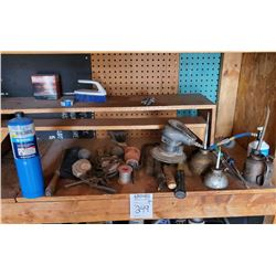 MISC SHELF LOT: OIL CANS, HAND TOOLS, ETC
