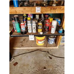 ASSORTED SPRAYS IN CANS: PAINTS, LUBRICANTS, RUSTOLEUM, BELT CONDITIONER, MORE