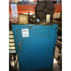Blue metal cabinet and used Rotary table plus contents