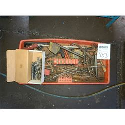 Miscellaneous tray of hex and Allen wrenches plus drill bits