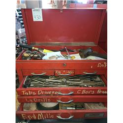 Dayton tool box full of tools , drill bits, micrometer, punches
