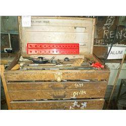 Powerkraft tool box, tapered bits, drill bits, assorted sizes