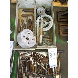 BUNDLE LOT: Misc. Machine Parts / Asstd. Drill Bits / Drill Bits in Crate