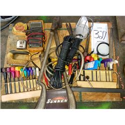 Miscellaneous assorted tool lot, hex, wrenches, tester, shop light, etc