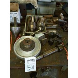 Assorted lathe parts, chucks, holders, cutters, heads