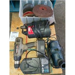 Assorted electric tools and grinding wheel lot