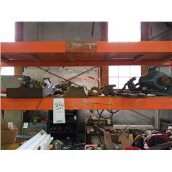 Assorted shelf lot/motor, shovel, metals (racking does not go)