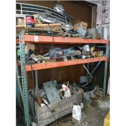 Large lot of car parts, motor, electrical - shelving not included