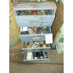 Metal cabinet with assorted hardware