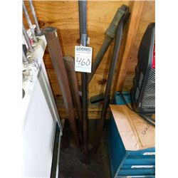 Lot of pry bars and sledge hammers