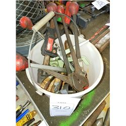 BUCKET OF BANDING TOOLS & OTHER TOOLS