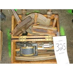 BUNDLE LOT: Vintage Tools in Wooden Box / 6 Dividing Head Index Plates