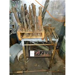 LARGE LOT OF LARGE BITS, INCLUDES STEEL STAND