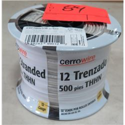 Sealed Spool of CerroWire #12 AWG White Wire, 500 Ft. Spool