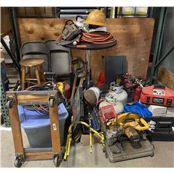 Misc. Items: Dolly, Jumper Cables, Propane Tanks, Extension Cords, Chairs, Table, etc