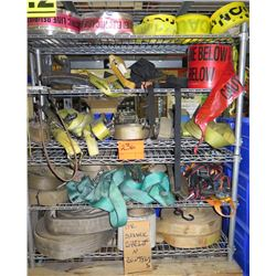 Shelving Unit and Contents: Ratchet Straps, Caution Tape, etc