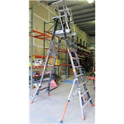 Little Giant Ladder System Safety Cage Platform Ladder (damaged outrigger clamp, needs repair)