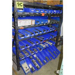 Shelf & Bins of Misc Size Circuit Breakers, etc. (see video for details)
