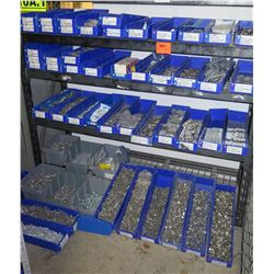 Shelf & Bins of Stainless Hardware: Nuts, Bolts, Washers, Screws, etc (see video for details)
