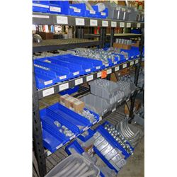 Shelf & Bins of Misc Size Gray Pipe, Fittings, Couplings, Bushings, Nipples, etc (see video for deta