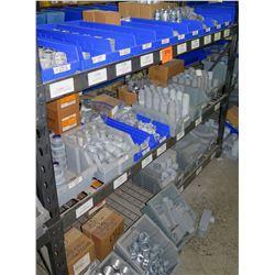 Shelf & Bins of Misc Size Gray EMT Connectors, Couplings, Bushings, Lock Nuts, etc (see video for de