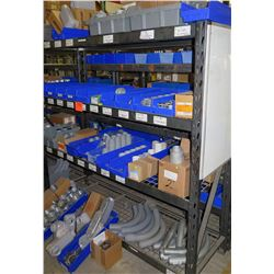 Shelf & Bins of Misc Size Gray Pipe, Compression Couplings, Bushings, Lock Nuts, etc (see video for
