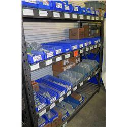 Shelf & Bins of Misc Size Conduit Straps, Compression Connectors, EMT Couplings,  etc (see video for