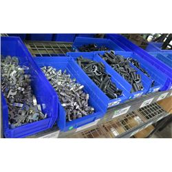 Qty 7+ Blue Bins of Stopper Sleeves, Cable Clips,  L  Foot Mill, etc