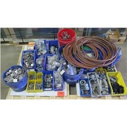 Multiple Bins Hangers, Copper Tubing, Fittings, Screws, etc & Loose Cable