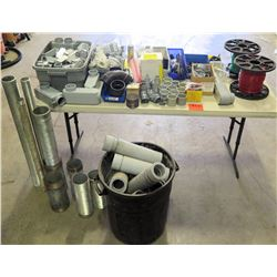 Multiple Metal & PVC Pipes, 2 Spools Wire, Fittings, Couplings, Clamps, Lug  Kit, etc