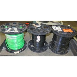 Qty 3 Spools #6 Wire - 2 Black & 1 Green