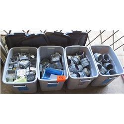 "Qty 4 Gray Bins 4"" & 4.74"" Junction Boxes, Large EMT Compression Couplings, etc"