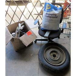 Office Chair, Tire, Bag Sweeping Compound, Misc Pipes, Belts etc