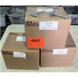 Qty 3 Boxes 3/8 x4  Zinc Toggle Bolt (125 pcs/box=375 total)