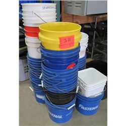 Multiple Square & Round Plastic 5 Gallon Buckets