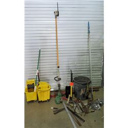 Industrial Cleaning Mop Buckets, Tree Trimmer Pole, Misc Tools, etc