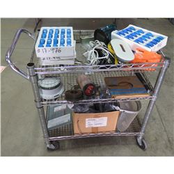 Metal Rolling Cart & Contents: Box Ironridge Clips, Meter, etc