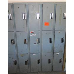 Gray Metal 15 Compartment Storage Locker Unit