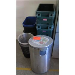 Metal Trash Can, Round & Large Heavy Duty Plastic Nesting Tubs