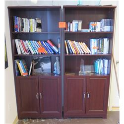 Double-Sided Wooden Bookshelf w/ Lower Cabinets (contents/books not included)
