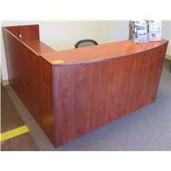 """Wood """"L"""" Shaped Reception Counter Desk w/ Chair"""