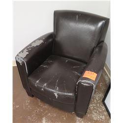 Vinyl Upholstered Black Arm Chair