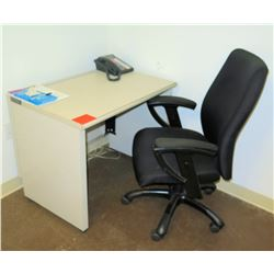 Wood Wall  Mounted Desk & Rolling Arm Chair