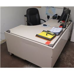 "White ""L"" Shape Desk w/ Interlocking Sides, 3 Drawers & Rolling Chair"