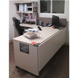 White  L  Shape Desk w/ Interlocking Sides, Hutch & Rolling Chair