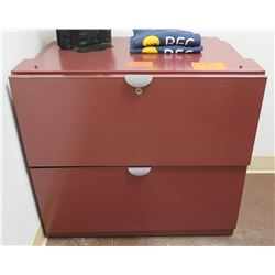 Red Metal 2 Drawer Lateral File Cabinet