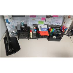 Office Supplies: Hole Punch, Pens, Paper Clips, Tape, etc