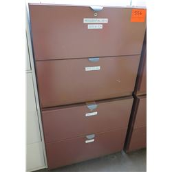 Qty 2 Red Metal 2-Drawer Lateral File Cabinets Stacked