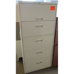 Beige Metal 5 Drawer Lateral File Cabinet