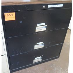 Black Metal 3 Drawer Lateral File Cabinet w/ Wood Top